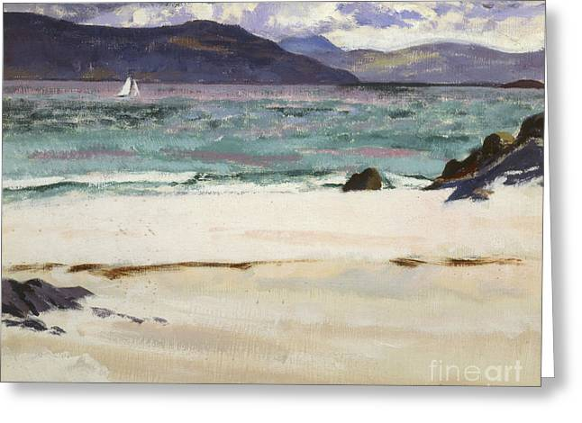Blue Sailboat Greeting Cards - Ben Bhuie from the North End   Iona Greeting Card by Francis Campbell Boileau Cadell
