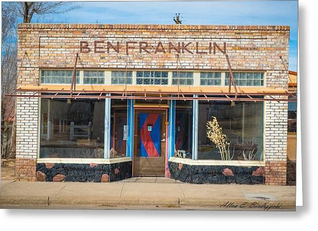 Store Fronts Greeting Cards - Ben Fraklin Greeting Card by Allen Biedrzycki