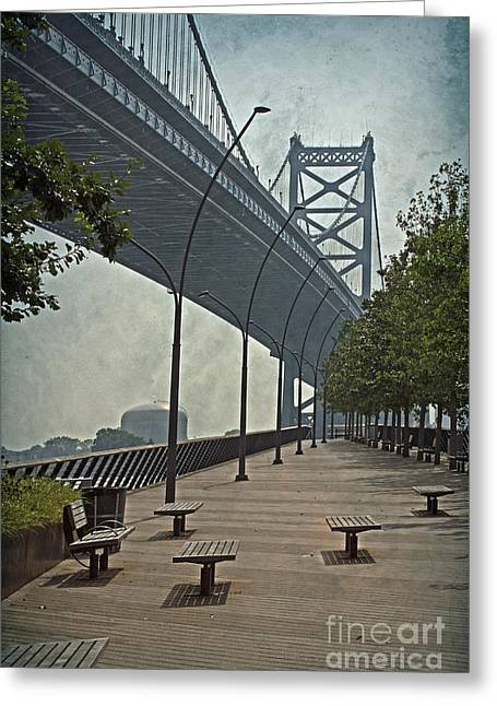 Downtown Franklin Greeting Cards - Ben Franklin Bridge and Pier Greeting Card by Tom Gari Gallery-Three-Photography