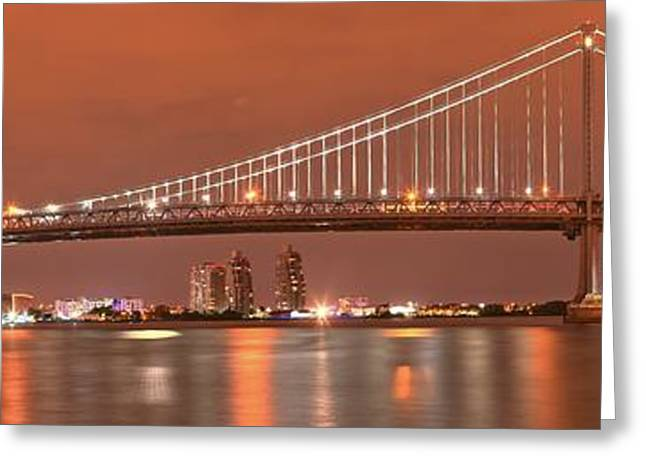 Ben Franklin Bridge Greeting Cards - Ben Franklin Bridge Dusk Panorama Greeting Card by Adam Jewell