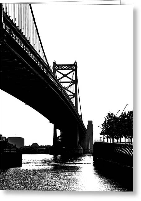 Downtown Franklin Greeting Cards - Ben Franklin Bridge Greeting Card by Tom Gari Gallery-Three-Photography