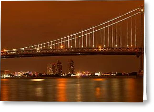 Ben Franklin Bridge Greeting Cards - Ben Franklin Bridge Giant Panorama Greeting Card by Adam Jewell