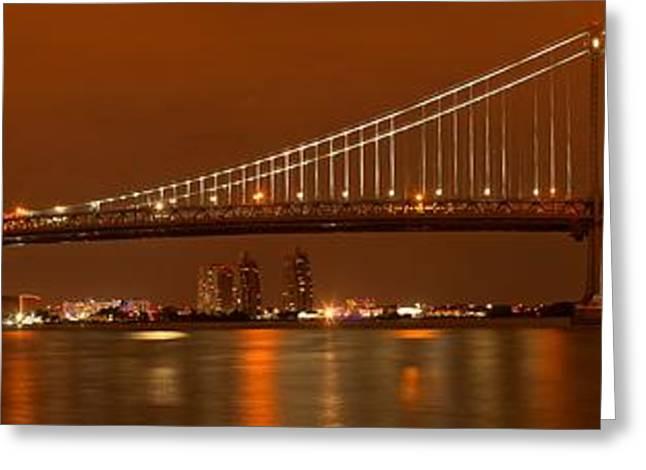 Famous Bridge Greeting Cards - Ben Franklin Bridge Giant Panorama Greeting Card by Adam Jewell