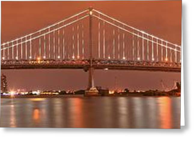 Famous Bridge Greeting Cards - Ben Franklin Bridge Giant Panorama At Dusk Greeting Card by Adam Jewell