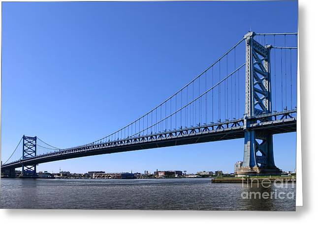 Ben Franklin Bridge Greeting Cards - Ben Franklin Bridge Greeting Card by Olivier Le Queinec