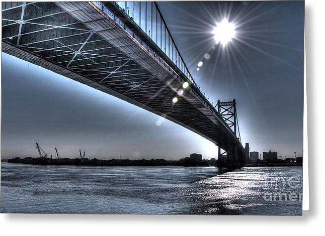 Williams Dam Greeting Cards - Ben Franklin Bridge Under the Sun Greeting Card by Mark Ayzenberg