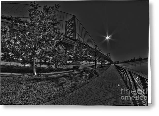 Williams Dam Greeting Cards - Ben Franklin Bridge Walk the Pier Greeting Card by Mark Ayzenberg
