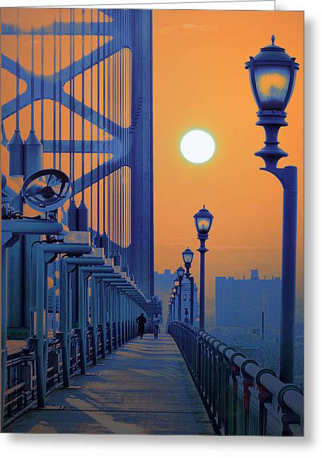 Ben Franklin Bridge Greeting Cards - Ben Franklin Bridge Walkway Greeting Card by Bill Cannon