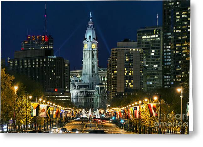 Hall Photographs Greeting Cards - Ben Franklin Parkway and City Hall Greeting Card by John Greim