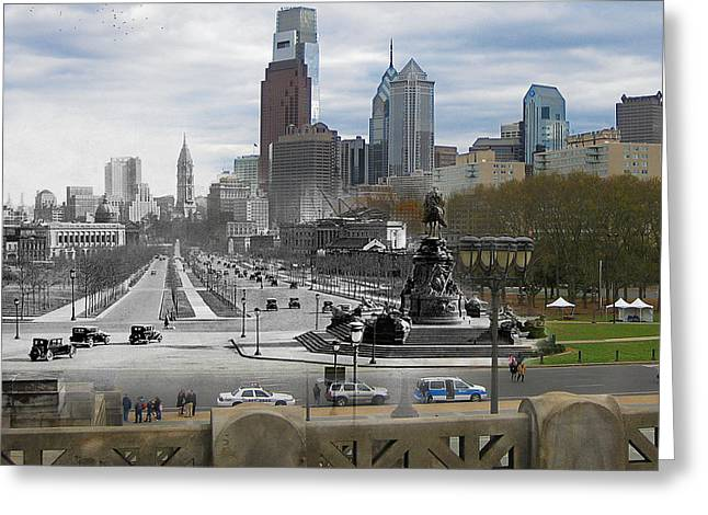 Philadelphia History Greeting Cards - Ben Franklin Parkway Greeting Card by Eric Nagy