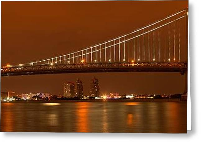 Ben Franklin Bridge Greeting Cards - Ben Franklin Lights The Way Greeting Card by Adam Jewell