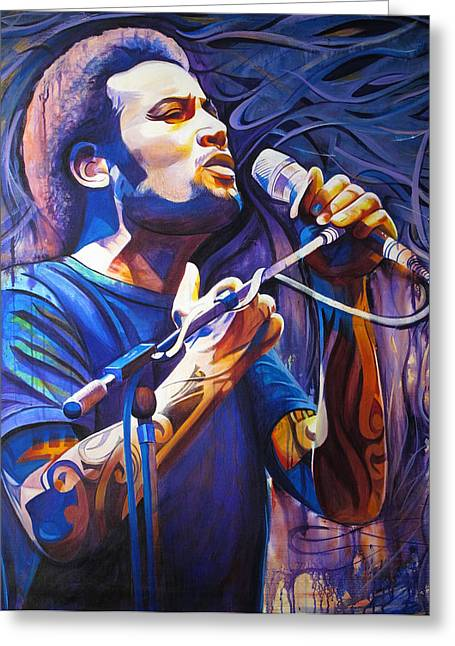 Ben Harper Greeting Cards - Ben Harper and Mic Greeting Card by Joshua Morton