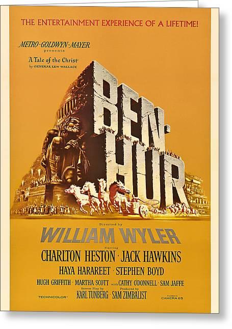 Jesus work Drawings Greeting Cards - Ben Hur Movie Poster Greeting Card by Mountain Dreams
