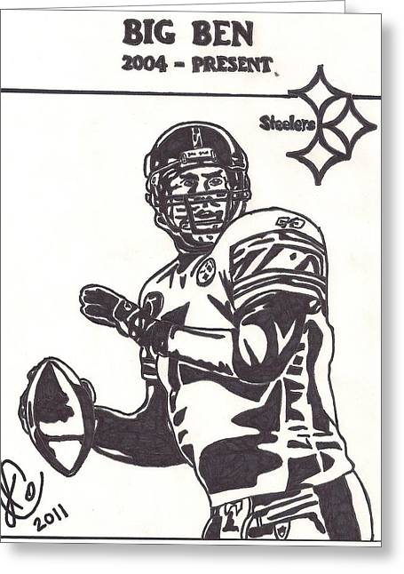 Steelers Drawings Greeting Cards - Ben Roethlisberger Greeting Card by Jeremiah Colley