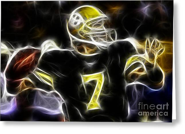 National Football League Greeting Cards - Ben Roethlisberger  - Pittsburg Steelers Greeting Card by Paul Ward