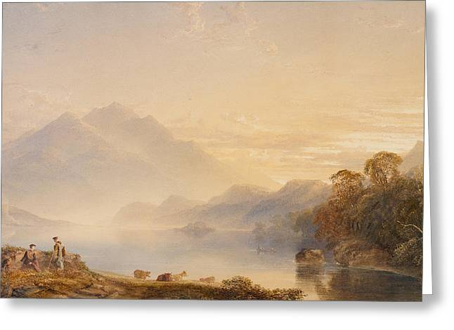 Mist Paintings Greeting Cards - Ben Venue and the Trossachs seen from Loch Achray Greeting Card by Anthony Vandyke Copley Fielding