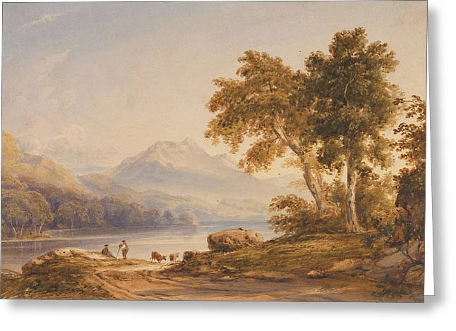 Romanticist Greeting Cards - Ben Vorlich and Loch Lomond Greeting Card by Anthony Vandyke Copley Fielding