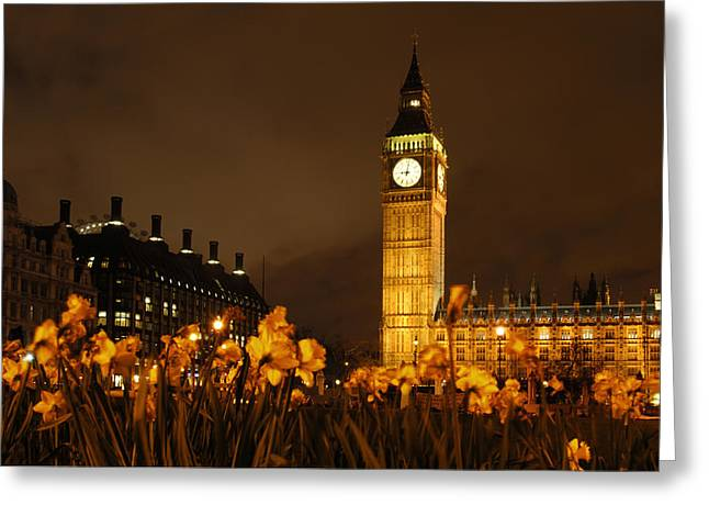 Clock Greeting Cards - Ben with Flowers Greeting Card by Mike McGlothlen