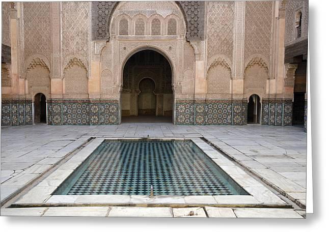 Moroccan Courtyard Greeting Cards - Ben Youssef Medersa Marrakech Greeting Card by Martin Turzak