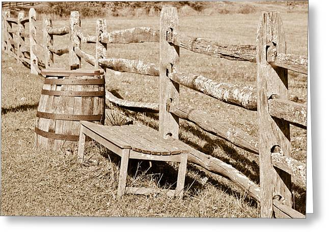 Bench And Barrel Greeting Card by Trish Tritz