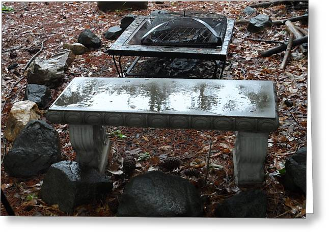 Firepit Greeting Cards - Bench and Firepit in Rain Greeting Card by James Potts
