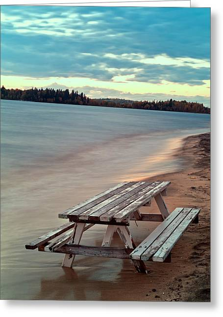 Bench And Table  Greeting Card by Ulrich Schade