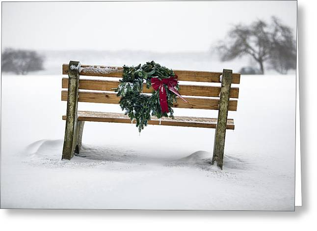 Park Benches Greeting Cards - Bench and Wreath Greeting Card by Eric Gendron