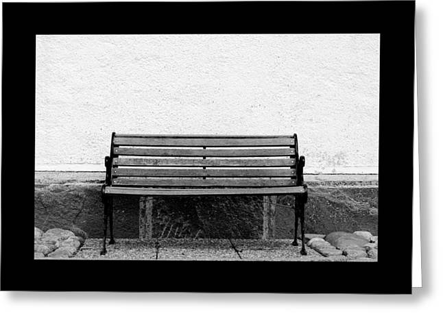 Bench At A Wall  Greeting Card by Toppart Sweden