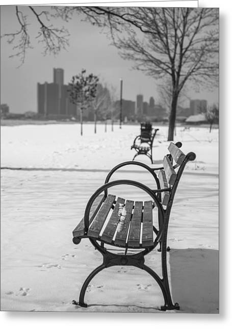 Detroit Photography Greeting Cards - Bench at Belle Isle with Detroit i Greeting Card by John McGraw