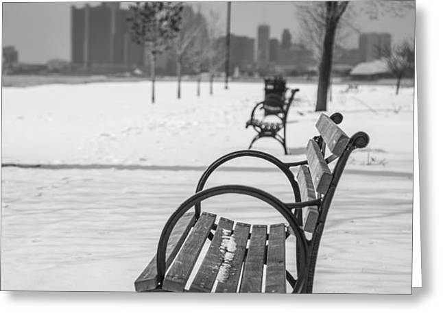 Bench at Belle Isle with Detroit i Greeting Card by John McGraw