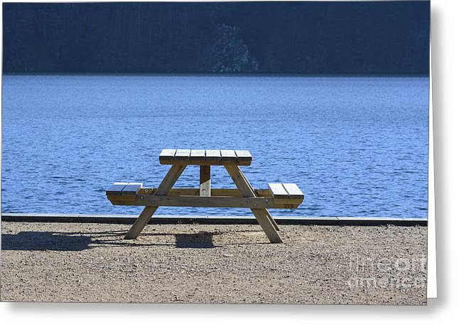 Absence Greeting Cards - Bench Greeting Card by Bernard Jaubert