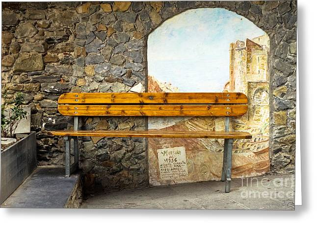 Recently Sold -  - Stepping Stones Greeting Cards - Bench in Riomaggiore Greeting Card by Prints of Italy