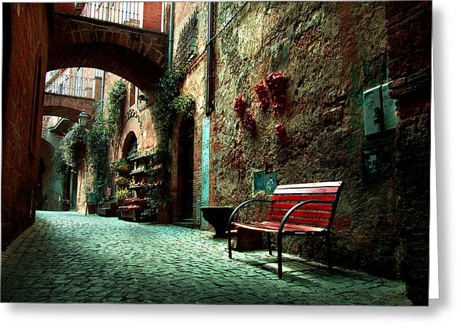 Orvieto Greeting Cards - Bench in Tuscany Greeting Card by Toma Bonciu