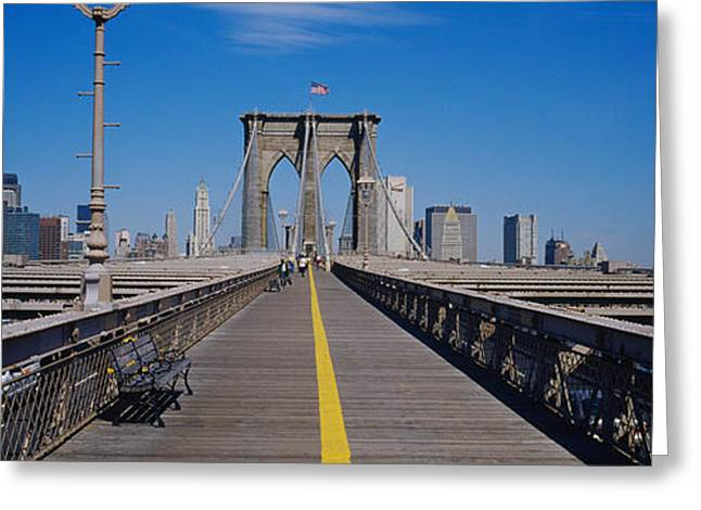 Famous Bridge Greeting Cards - Bench On A Bridge, Brooklyn Bridge Greeting Card by Panoramic Images