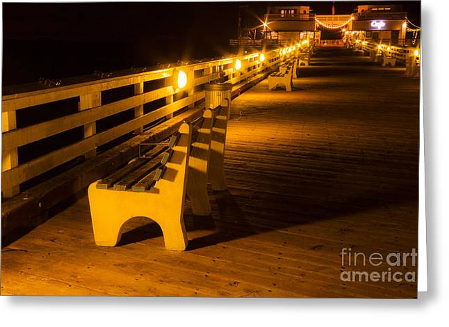 Beach At Night Greeting Cards - Bench on Malibu Beach Pier at Night Landscape Fine Art Photograph Print Greeting Card by Jerry Cowart