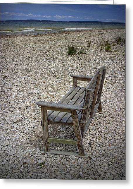 Mackinaw City Greeting Cards - Bench on the shore at Mackinaw City Greeting Card by Randall Nyhof
