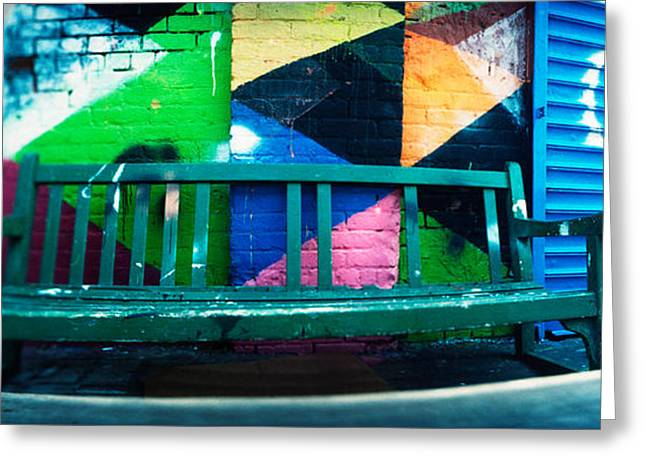 Williamsburg Greeting Cards - Bench Outside A Building, Williamsburg Greeting Card by Panoramic Images
