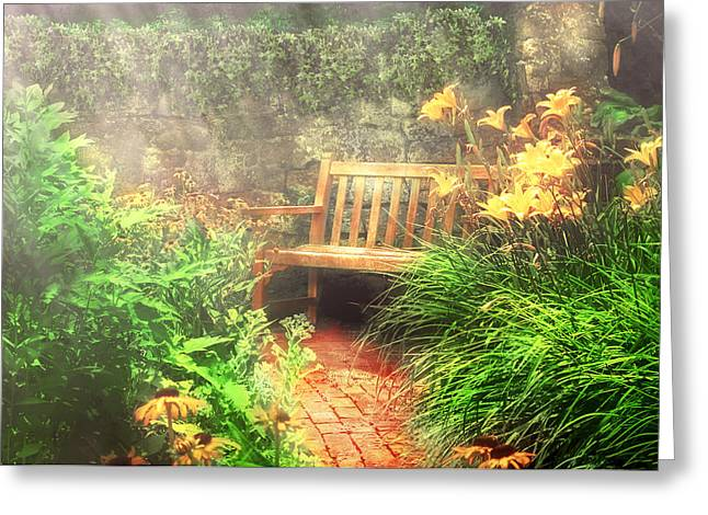 Gardening Photography Greeting Cards - Bench - Privacy  Greeting Card by Mike Savad