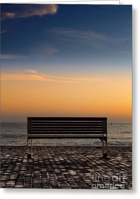 Back View Greeting Cards - Bench Greeting Card by Stylianos Kleanthous