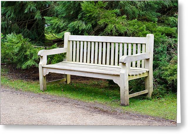 Wood Bench Greeting Cards - Bench Greeting Card by Tom Gowanlock