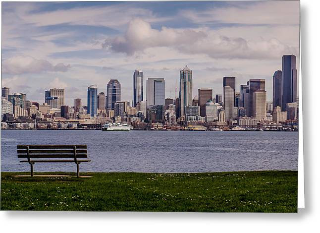 Alki Beach Greeting Cards - Bench with a View Greeting Card by Dan Mihai