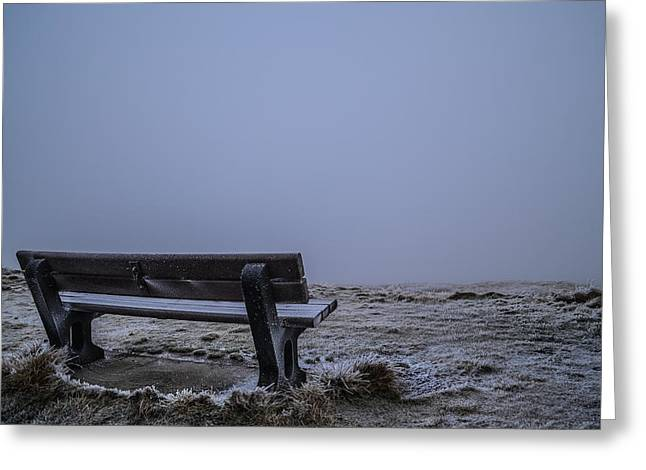 Landscape With A Road Greeting Cards - Bench with a View Greeting Card by Natasha Larkin
