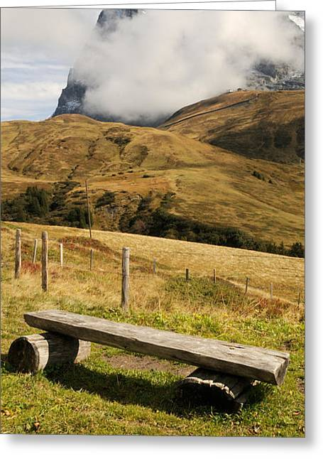 Jungfrau Greeting Cards - Bench With Mt Eiger In The Background Greeting Card by Panoramic Images