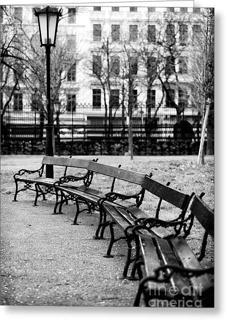 Park Benches Greeting Cards - Benches at Burggarten Greeting Card by John Rizzuto