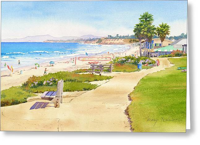 Southern Scene Greeting Cards - Benches at Powerhouse Beach Del Mar Greeting Card by Mary Helmreich