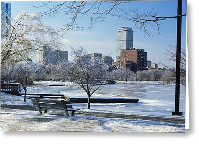 Charles River Greeting Cards - Benches In A Park, Charles River Park Greeting Card by Panoramic Images