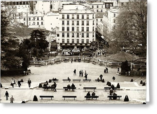 Photo Art Gallery Greeting Cards - Benches in Paris Greeting Card by John Rizzuto