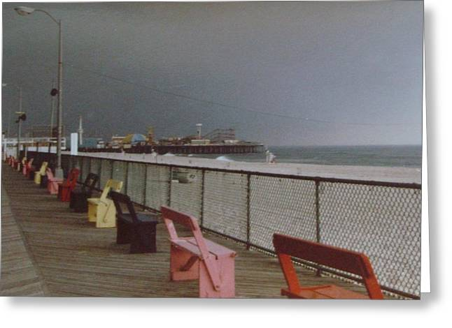 Casino Pier Greeting Cards - Benches of Seaside Heights NJ Greeting Card by Joann Renner