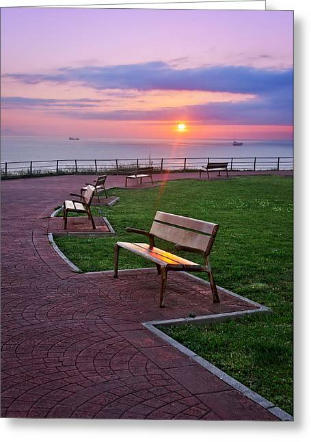 Recliner Greeting Cards - Benches On Park At Sunset Greeting Card by Mikel Martinez de Osaba