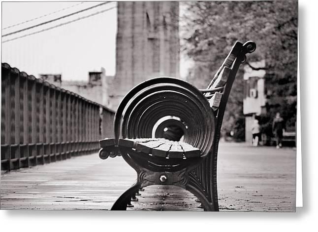 Bench's Circles And Brooklyn Bridge - Brooklyn Heights Promenade - New York City Greeting Card by Carlos Alkmin